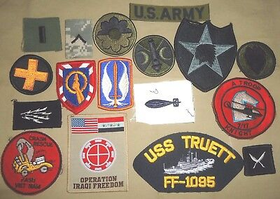 Mix US Military Patches - Army, Navy, Korea, Vietnam, Guff War, Full Color,  ACU