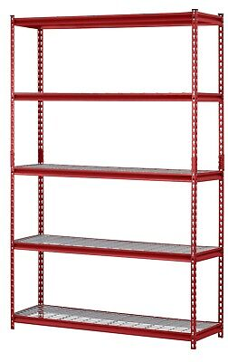 """5-Shelf Steel Shelving Unit, 48""""W x 72""""H x 18""""D Commercial Red Adjustable Wire"""