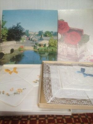 Pair of boxed vintage sets of ladies cotton handkerchiefs.NIB