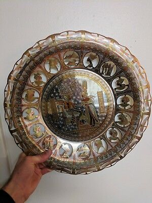 "Egyptian 13"" Metal Hand Made Tray Plate Egypt Copper Silver Gold Ornate Cut Outs"