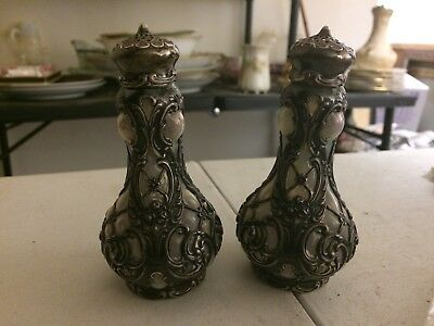 VERY RARE Whiting Sterling Silver Opalescent Art Glass Salt Pepper Shakers