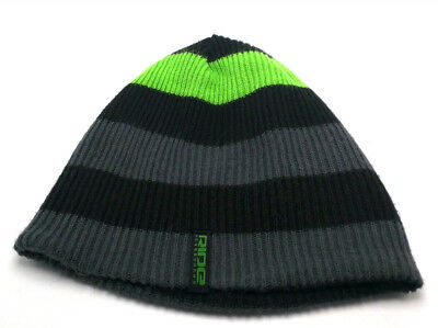 4a00f1a5dd4 RIDE SNOWBOARDS reversible gray   black   green beanie   hat - one size