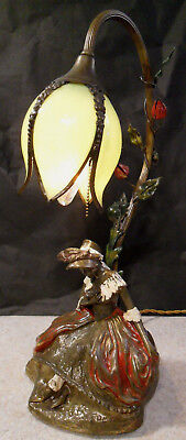 Beautiful 1920's Armor Bronze Lamp of Artist Bonnie McLeary Green Tulip Shade