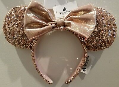 Disney Parks Rose Gold Minnie Mouse Ears Sequin Headband NWT