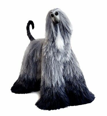 Collectibles Animals Gray White Afghan Hound Cute Plush Mini Toy Stuffed Animal
