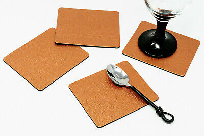 Set 4 ARTISAN Copper Bonded Leather COASTERS Drink Mats UK MADE, WEDDING, Party