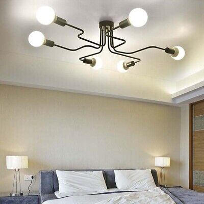 Industrial Vintage Semi Flush Ceiling Light Chandelier Steampunk Pendant Lamp