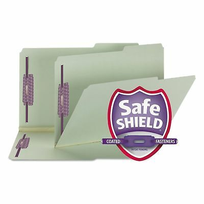 Smead Two Inch Expansion Fastener Folder 2/5 Right Tab Legal Gray Green 25/Box