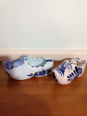 Two Blue and White Dutch Windmill Ceramic Shoes