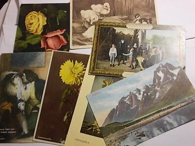 7 Vintage Postcards with Stamps. Over 100 Year Old.. G/VG