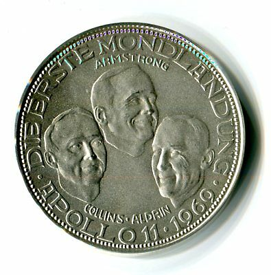 Medaille Raumfahrt Apollo 11 Armstrong Collins Aldrin 1969 Silber 1000 M_659