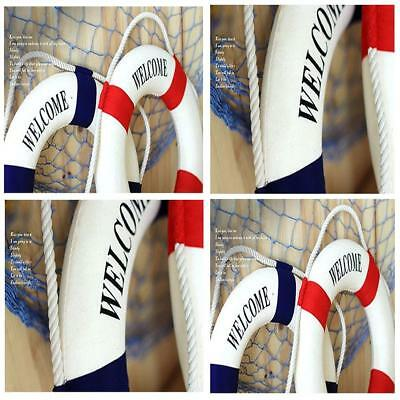 Welcome Aboard Nautical Life Ring Lifebuoy Boat Wall Hanging Home Bar Decor N3