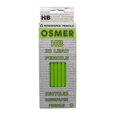 Osmer 2 boxes of 20 = 40 Recycled Newspaper 2B & HB Graphite Grade Lead Pencils