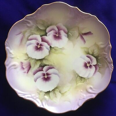 Pretty Hand Painted Purple Pansies On Bone China Plate, Artist Signed