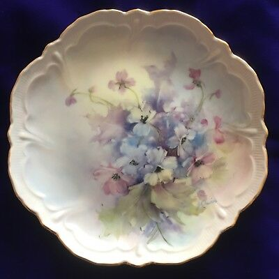 Lovely Blue Florals Hand Painted Porcelain Plate, Artist Signed, New