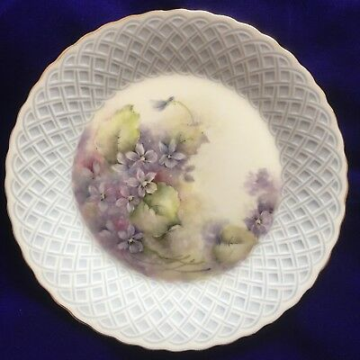 Pretty Hand Painted Violets On Japanese Porcelain Plate...New