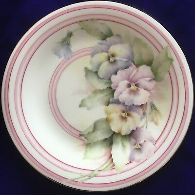 Colourful Hand Painted Pansies On Porcelain Plate, New