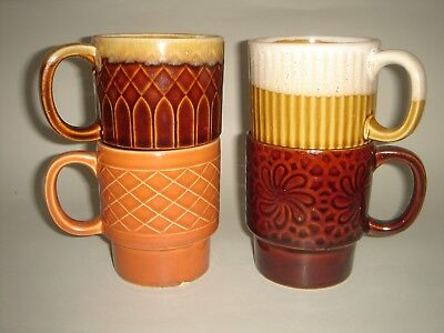 Japan Stackable 4 Cups Mugs Classic Kitchen Retro 1970's Pottery
