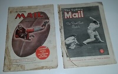 2 old Sydney Mail newspapers 1933 & 1936 Don Bradman in Ashes, Edward 8th pics
