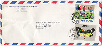 T2092 Liberia commercial air cover to UK, 1975, 20c football and 5c butterfly