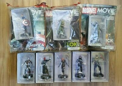 Marvel Movie Collection + Figurine 8 Character Lot With Magazines America Fury +
