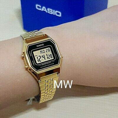 Casio New Ladies Gold Tone Digital Stainless Steel Watch LA680WGA-1DF LA680WGA-1