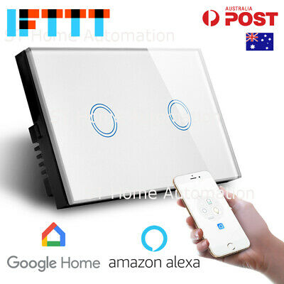 NEW AU Approved SMART HOME Alexa & Google Home WiFi Wall Switch 2 gang SmartLife