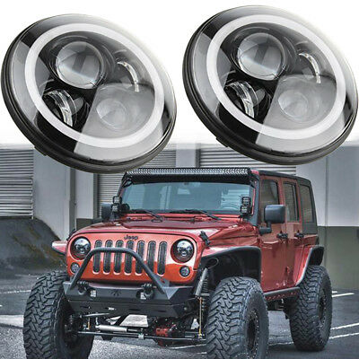 DOT Approved 2X 7 Inch LED Round Headlights DRL Hi/Lo Beam For Jeep Wrangler