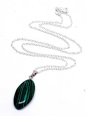 Malachite Oval Gemstone Pendant Hand Shaped & Silver Chain Necklace