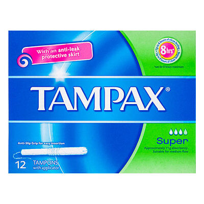 NEW Tampax Tampons With Applicator Medium Absorbing And Anti Leak Skirt 12 Pack