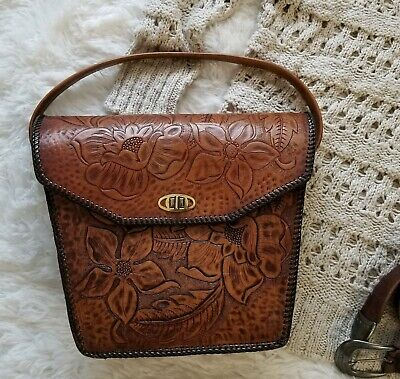 Vintage Genuine Leather Short Strap Handbag Purse Hand Tooled Floral Brown Boho