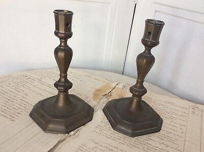 Superb Pair 18th Century Brass Seamed Candlesticks circa 1720s