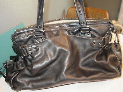 COLE HAAN  Black Leather  Messenger Tote  DiaperBag
