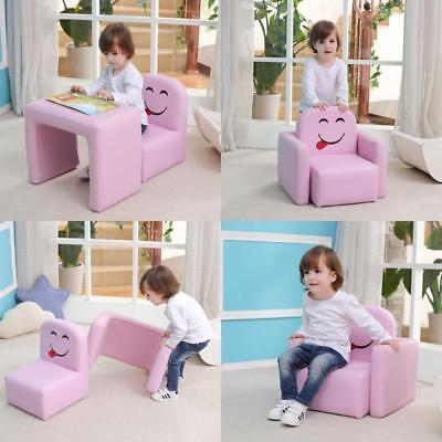 Kids Armchair Multi-functional Chair and Table Set/Stool with Funny Smile Face