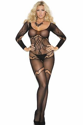 Plus Size Long-Sleeve Opaque Body Stocking Sheer Floral Open-Crotch Full-Length
