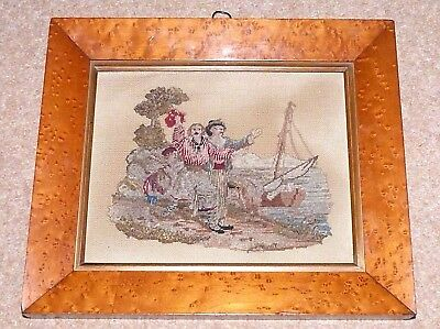 Victorian Needlepoint of Family on Seashore in original birds eye maple frame