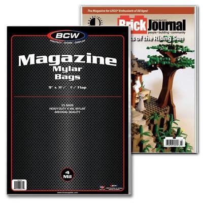 25 Bcw Magazine Size 4 Mil Mylar Bags Archival Acid Free Soft Covers