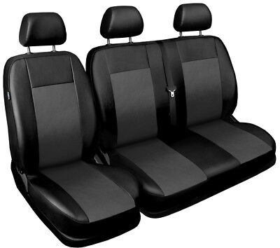 Van seat covers comfort fit Ford Transit Custom leatherette black - grey