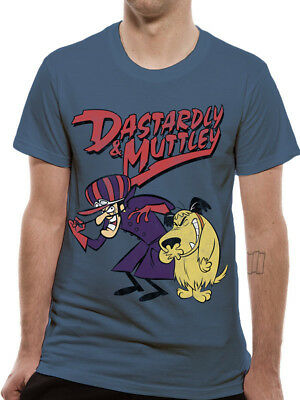 Wacky Races Dastardly and Muttley Official Hanna Barbera Blue Mens T-shirt