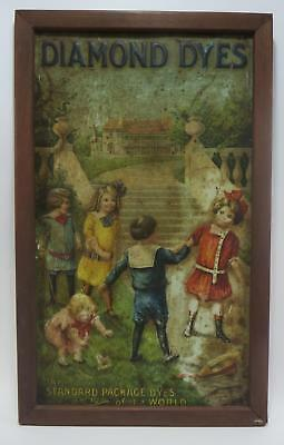 Antique Diamond Dyes Framed Cabinet Tin Children Playing