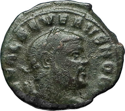 SEVERUS II 305AD Rare Quarter Follis Authentic Ancient Roman Coin GENIUS i67203