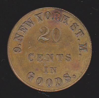 Civil War Sutler Token Good For 20c in Goods F. Mangold 9th NY State Militia CWT