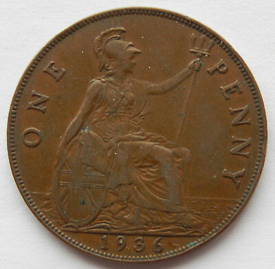 1936 UK / Great Britain One Penny Coin #3 KM#838 SB5270