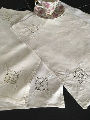 Antique Embroidered Linen Placemats Set Of 10