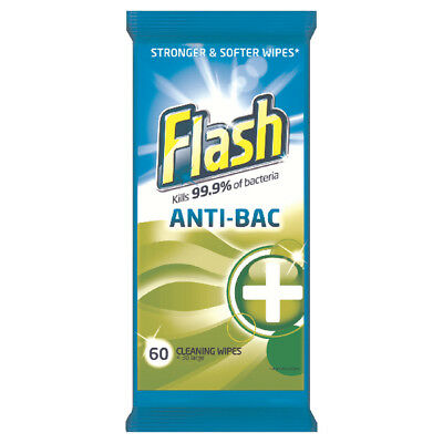 Flash Strong Weave Anti-bacterial Cleaning Wipes (Pack of 60) 5413149937185