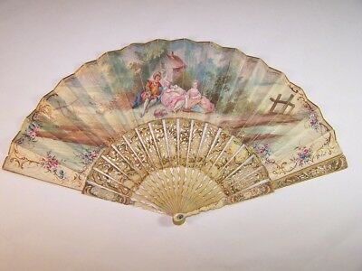 Exquisite antique 18thC french carved  signed fan