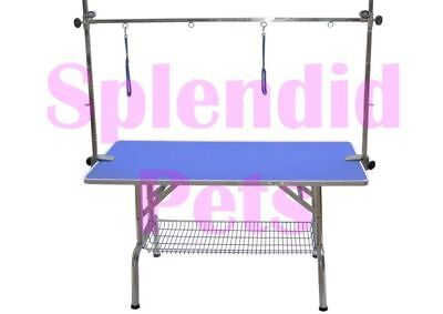 "X Large 110cm 43"" Blue Pink Purple Pro Dog Grooming Table inc 2 Noose Restraints"