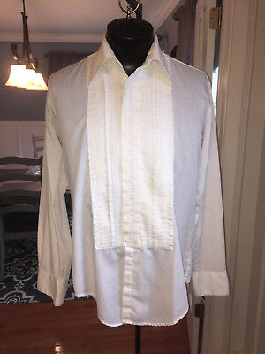 Mens Vintage White Embroidered Detail Tuxedo Shirt After Six 15 X 34 (M4) #116