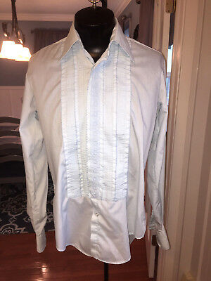Mens Vintage Blue Embroidered Detail Tuxedo Shirt After Six 15 X 36 (M6) #117