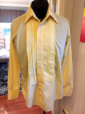 Mens Vintage Yellow Embroidered Detail Tuxedo Shirt After Six 15 X 34 (M4) #119